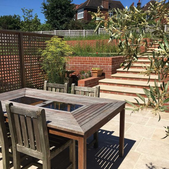 well designed seating area and garden