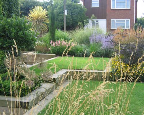 front garden with terraced lawns