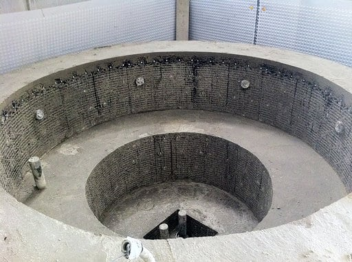 hot tub being built