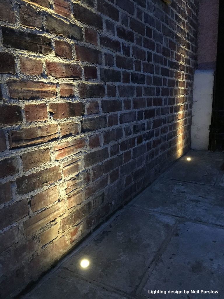 recessed lights on stone pathway