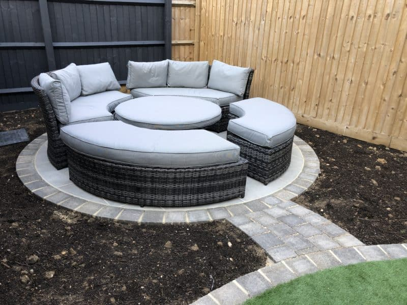 circular seating area in small garden