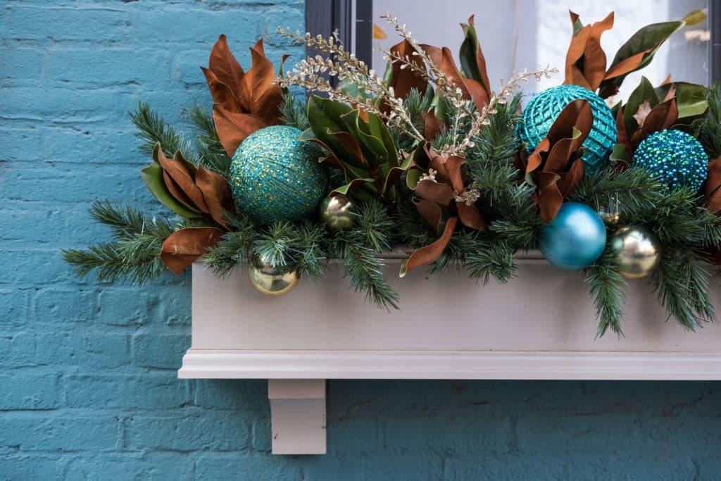 window box with a festive garden design