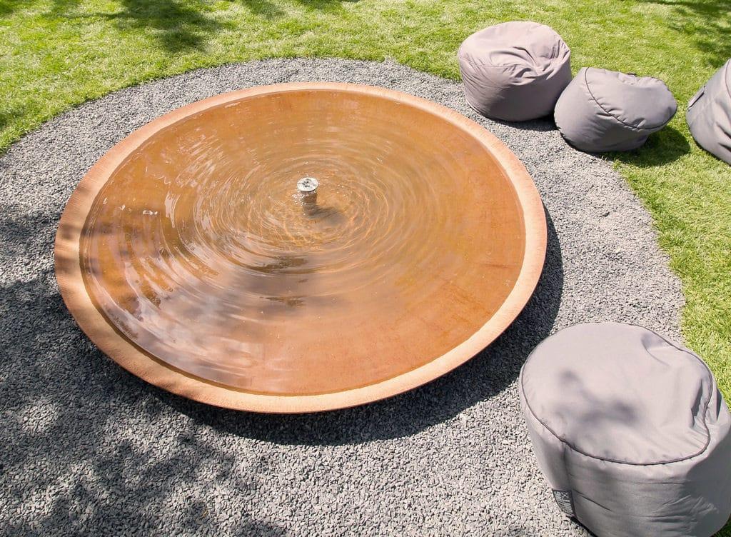 simple water feature in corten steel