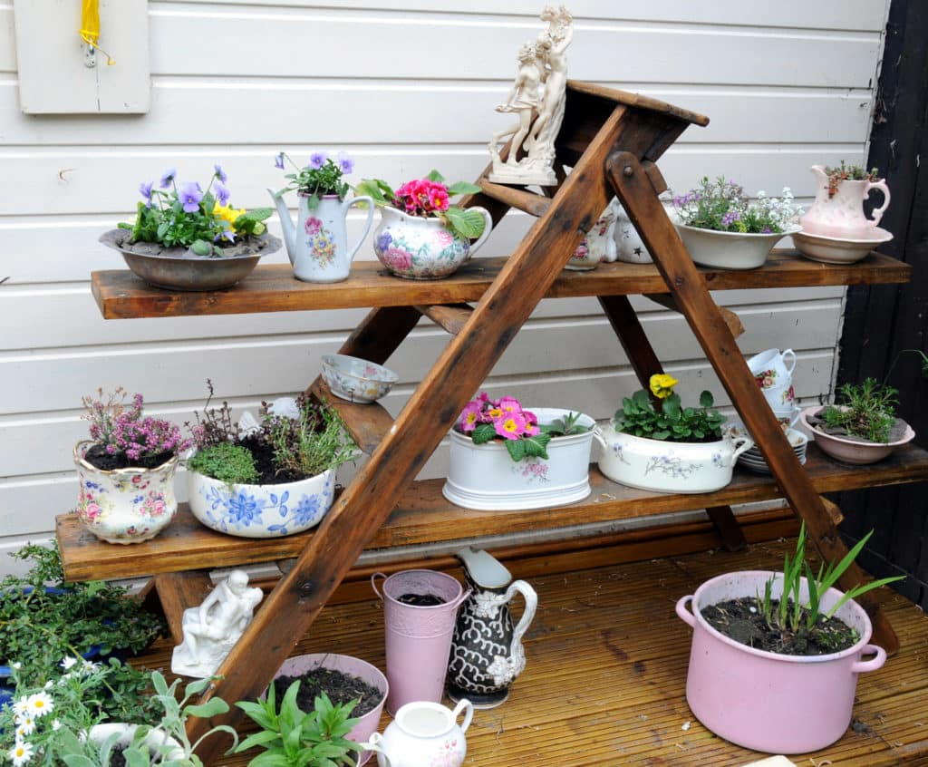 upcycled garden storage for pot plants and accessories