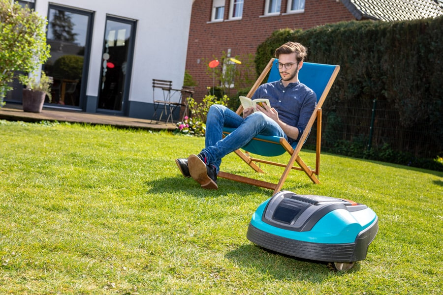 robot lawn mower in low maintenance garden