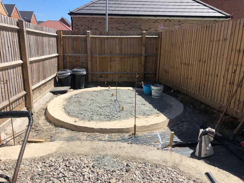 creating sub base for a circular seating area