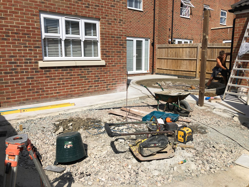 landscaping site with sub base prepared