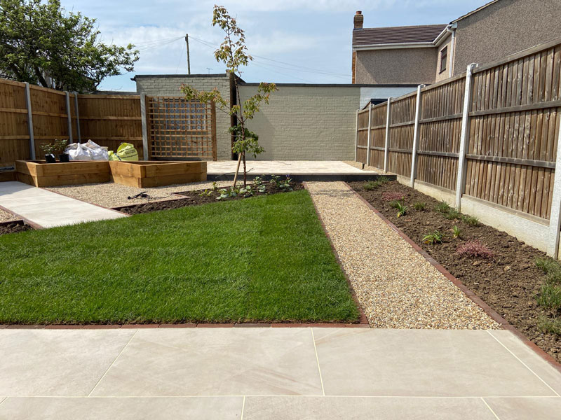 overview of newly landscaped rear garden in Essex