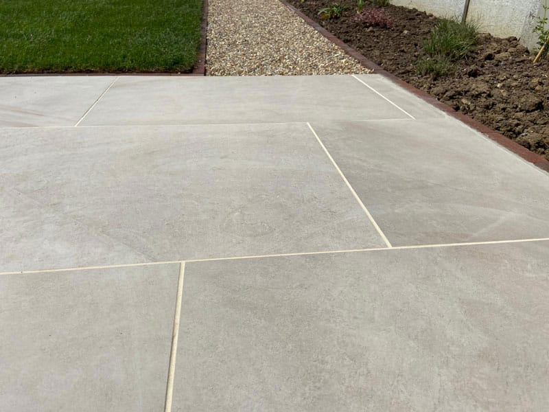 patio detail showing joints and grouting