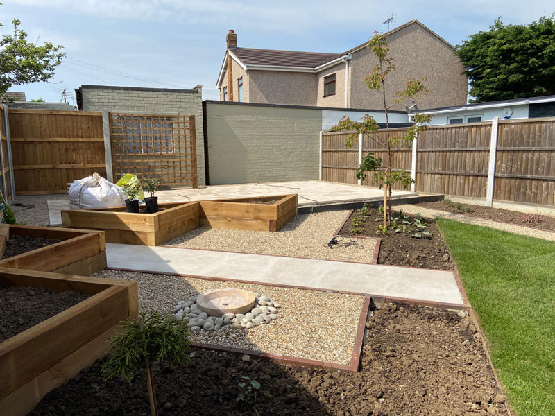 hard landscaping in rear garden with path and gravelled area