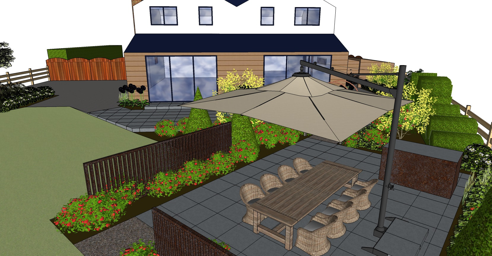 3d garden design plan for outdoor kitchen and eating area