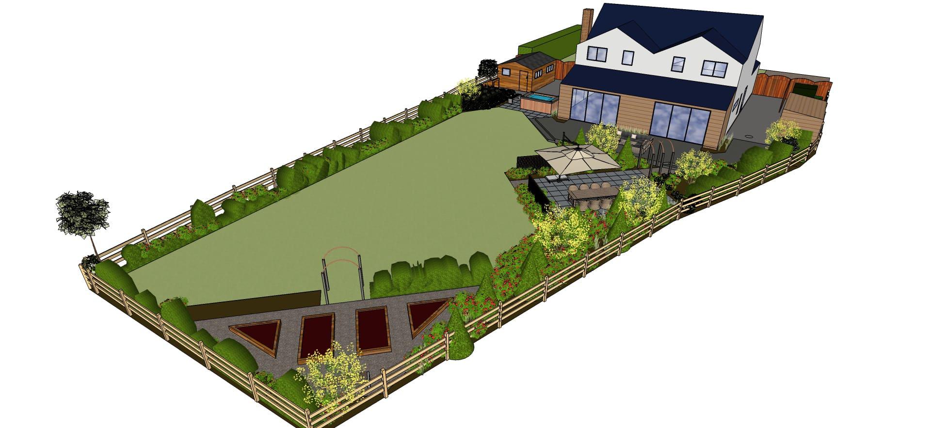 3d rendered garden design for large back garden