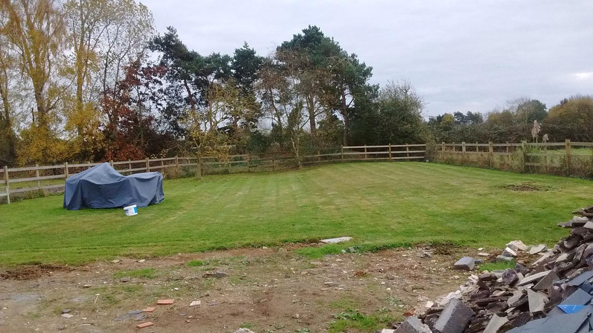 large unlandscaped back garden