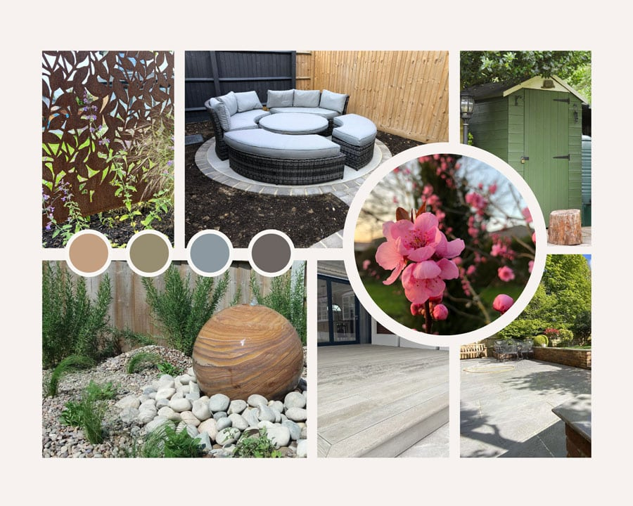garden design mood board with several images