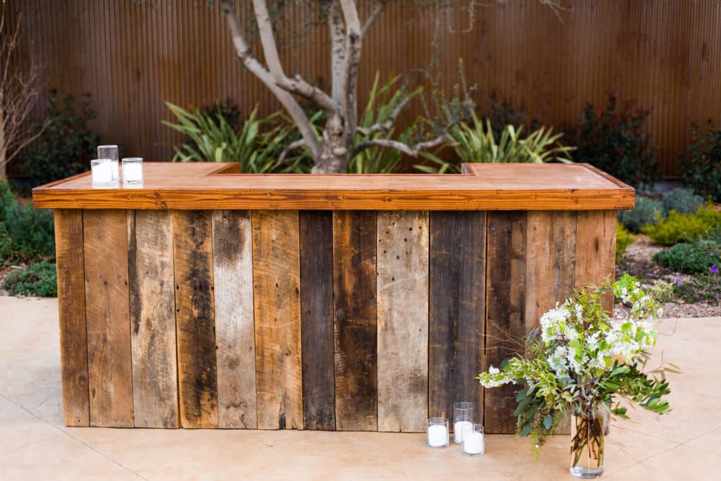 outdoor kitchen and bar with timber cladding