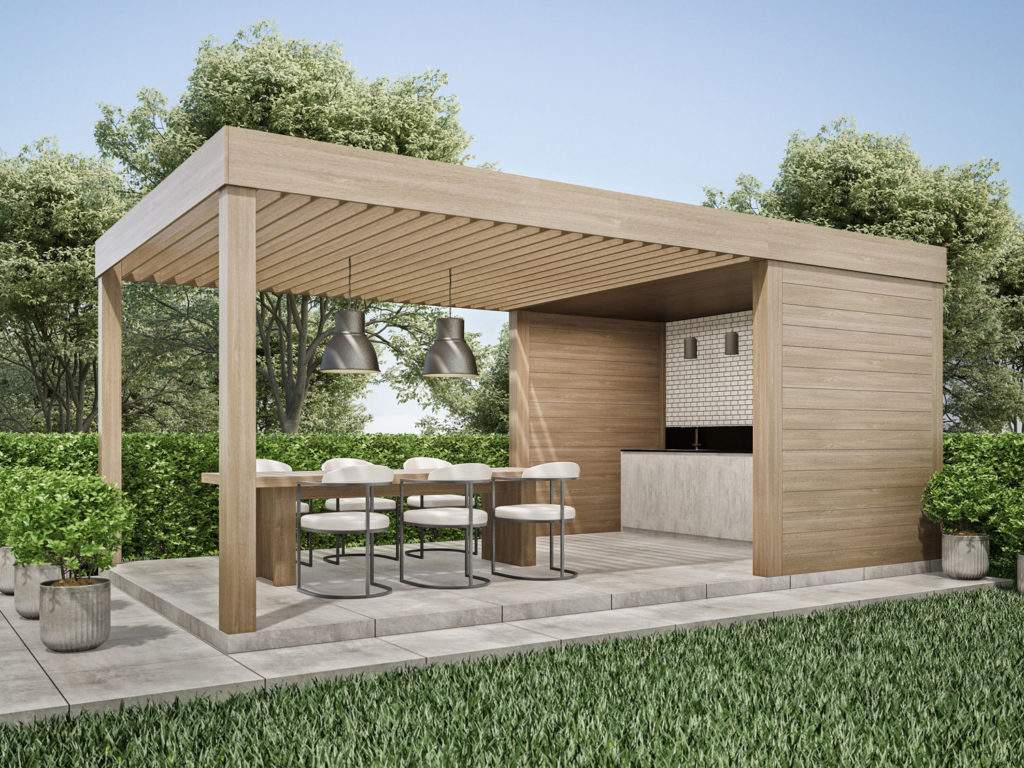 outdoor kitchen and bar with seating area beneath a louvred pergola